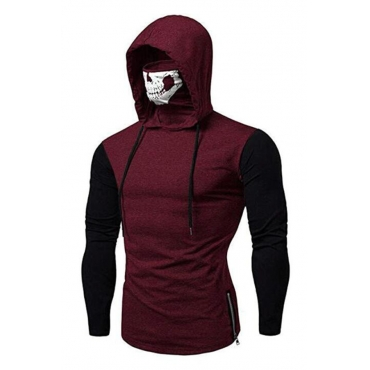 Lovely Casual Hooded Collar Skull Printed Wine Red Hoodie