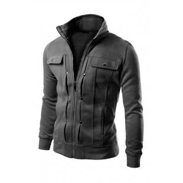 Lovely Casual Zipper Design Dark Grey Jacket