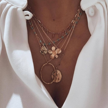 Lovely Trendy Layered Gold Necklace