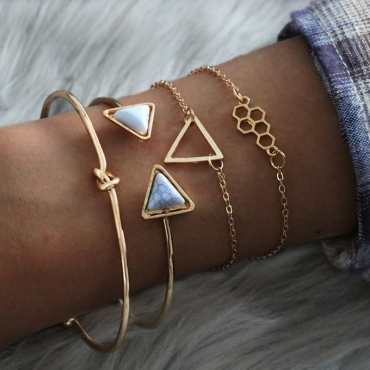 Lovely Trendy Geometric 4-piece Gold Bracelet