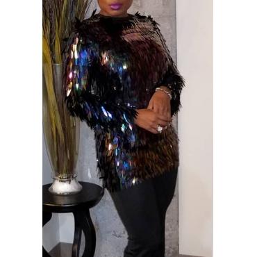 Lovely Trendy O Neck Sequined Black Blouse