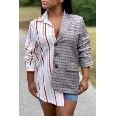 Lovely Casual Patchwork Printed Multicolor Blazer