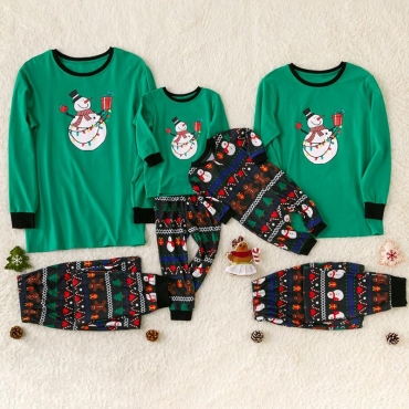 Lovely Family Santa Claus Printed Green Mother Two-piece Pants Set