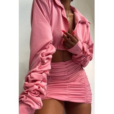 Lovely Street Ruffle Design Pink Two-piece Skirt Set