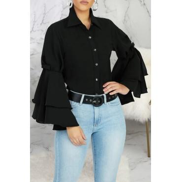 Lovely Casual Buttons Flounce Design Black Shirt