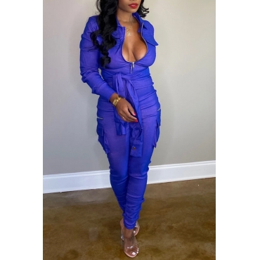 Lovely Leisure Knot Design Blue One-piece Jumpsuit