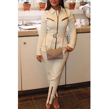 Lovely Trendy Zipper Design White One-piece Jumpsuit