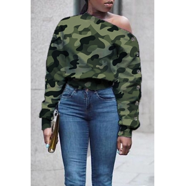 Lovely Casual O Neck Green Sweatshirt Hoodie