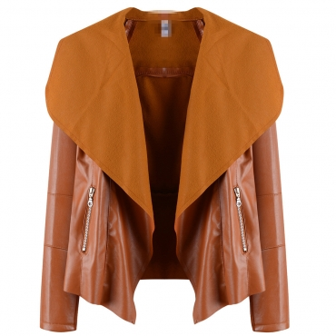Lovely Casual Turn-down Collar Brown Coat