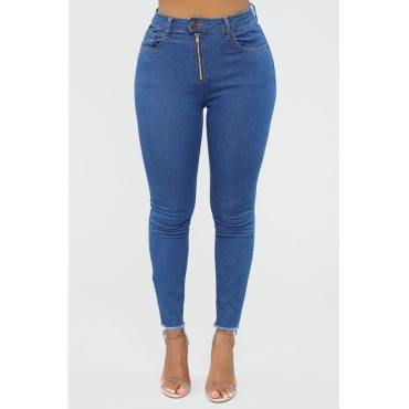 Lovely Casual Buttons Design Skinny Deep Blue Jeans
