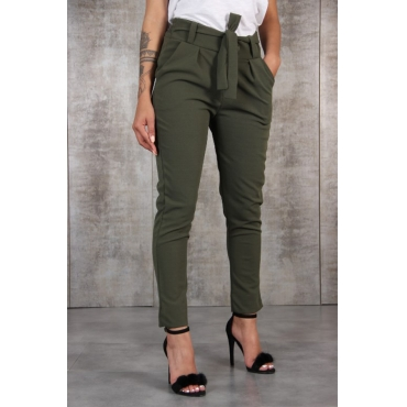 Lovely Casual Drawstring Green Pants(With Belt)