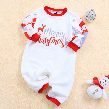 Lovely Family Letter Printed White Baby One-piece Jumpsuit