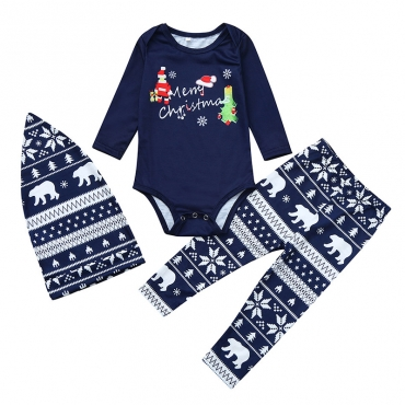 Lovely Family Santa Claus Printed Dark Blue Baby One-piece Romper