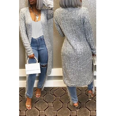 Lovely Casual Basic Grey Long Cardigan