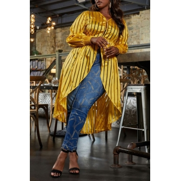 Lovely Casual Striped Yellow Plus Size Blouse