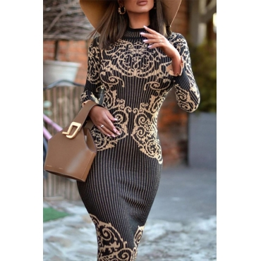 Lovely Casual Printed Skinny Black Mid Calf Dress