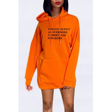 Lovely Casual Hooded Collar Letter Printed Jacinth Mini Dress