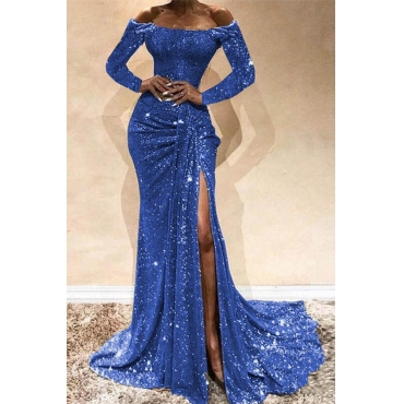 Lovely Party Side High Slit Blue Trailing Evening Dress