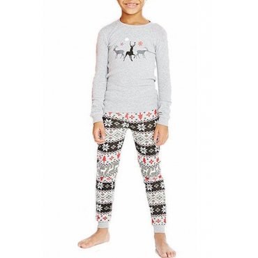 Lovely Family Printed Grey Kids Two-piece Pants Set