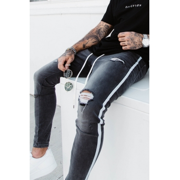 Lovely Casual Broken Holes Grey Jeans