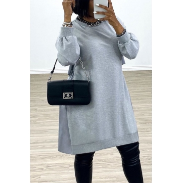 Lovely Casual O Neck Loose Grey Mini Dress