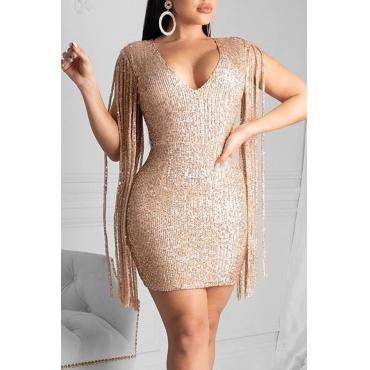 Lovely Party Sleeveless Tassel Design Gold Mini Dress