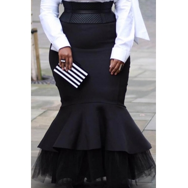 Lovely Casual Flounce Black Plus Size Skirt(Without Belt)