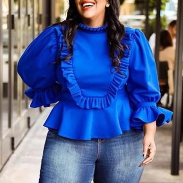 Lovely Trendy Flounce Patchwork Blue Plus Size Blouse