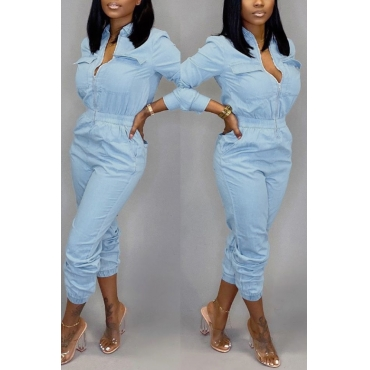Lovely Casual  Zipper Design Baby Blue One-piece  Jumpsuit