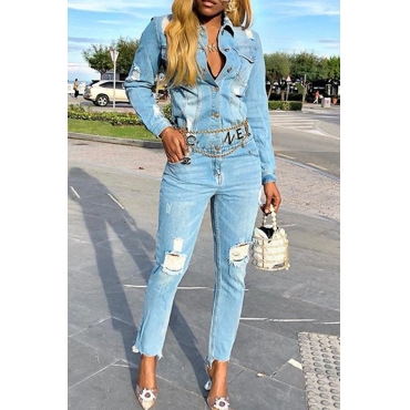 Lovely Casual Broken Holes Blue One-piece Jumpsuit