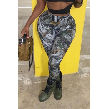 Lovely Casual Camouflage Printed Green Pants