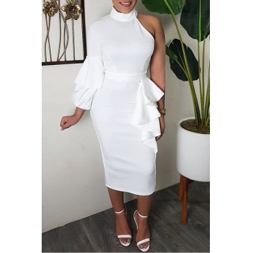 Lovely Sweet Turtleneck Dew Shoulder Flounce White Mid Calf Dress