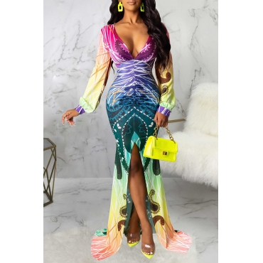 Lovely Party V Neck Printed Multicolor Trailing Evening Dress