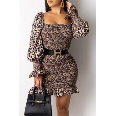 Lovely Sweet Leopard Printed Mini Dress