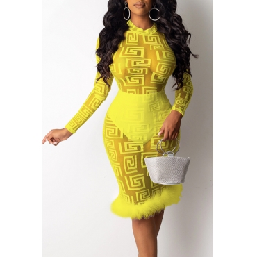 Lovely Party See-through Yellow Knee Length Prom Dress(With Lining)