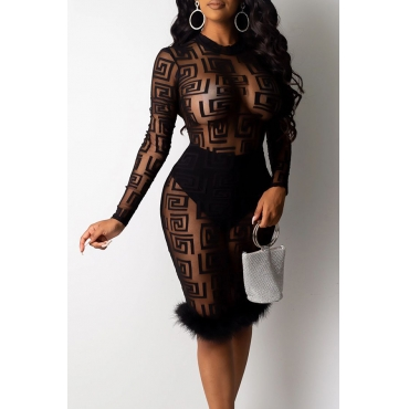 Lovely Party See-through Black Knee Length Prom Dress(With Lining)