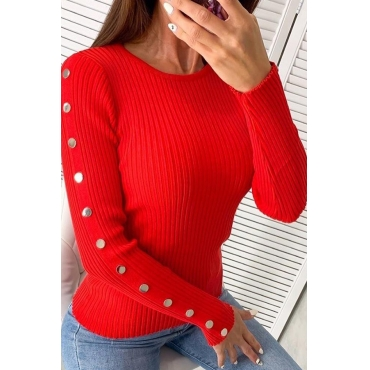 Lovely Leisure O Neck Buttons Red Sweater