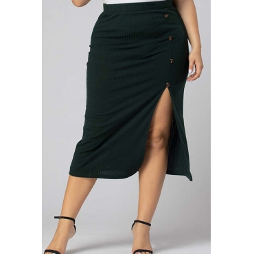 Lovely Casual Asymmetrical Blackish Green Plus Size Skirt