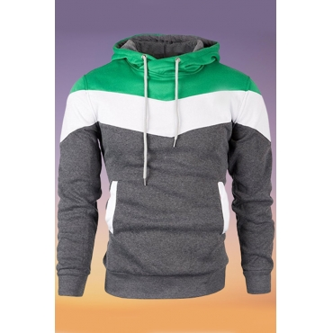 Lovely Casual Hooded Collar Color-lump Patchwork Green Hoodie