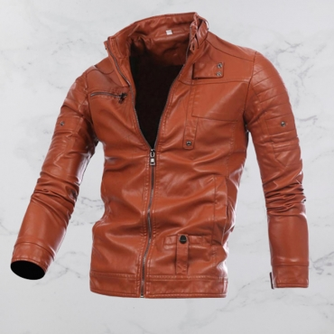 Lovely Casual Mandarin Collar Brown Leather