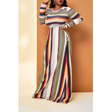 Lovely Trendy Striped Yellow Floor Length Plus Size Dress
