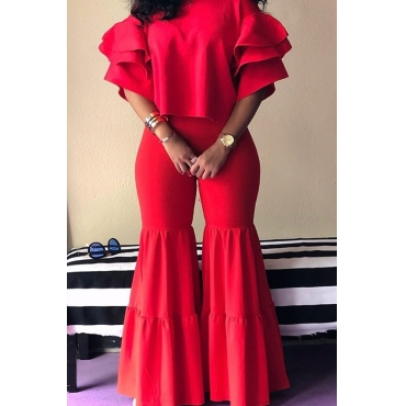 Lovely Sweet Ruffle Design Red Two-piece Pants Set