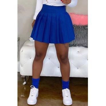 Lovely Casual Ruffle Design Blue Mini Skirt