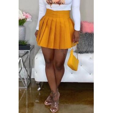 Lovely Casual Ruffle Design Yellow Mini Skirt