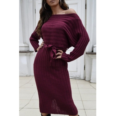 Lovely Casual Dew Shoulder Wine Red Mid Calf Dress