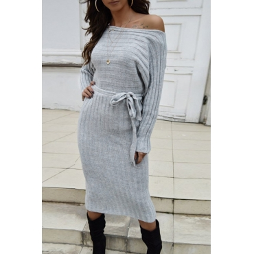 Lovely Casual Dew Shoulder Grey Mid Calf Dress