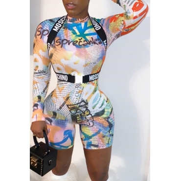 Lovely Sexy Printed Multicolor One-piece Romper(Without Belt)