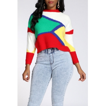 Lovely Casual Color-lump Patchwork Multicolor Sweater