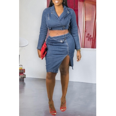 Lovely Trendy Zipper Design Blue Two-piece Skirt Set