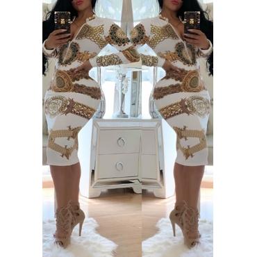 Lovely Trendy Printed Skinny White Knee Length Dress